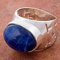 Sodalite cocktail ring, 'Attractive Wonder' - Natural Sodalite on Wide Sterling Silver Ring from Peru
