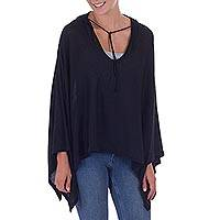Pima cotton hooded poncho, 'Trendy Ebony' - Women's Peruvian Pima Cotton Hooded Poncho in Ebony Black