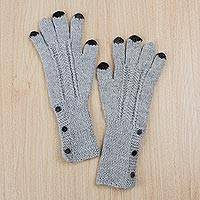 100% alpaca gloves, 'Stylish Woman' - 100% Alpaca Knit Gloves in Dove Grey and Black from Peru