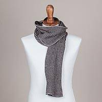Scarf, 'Graceful Desert' - Striped Knit Wrap Scarf in Tan and Black from Peru