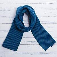 Scarf, 'Royal Emerald' - Striped Knit Wrap Scarf in Royal Blue and Emerald from Peru