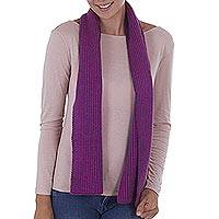 Scarf, 'Azure Fuchsia' - Striped Knit Wrap Scarf in Fuchsia and Azure from Peru