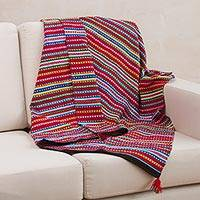 Alpaca blend throw blanket, 'Andean Home' - Crimson Alpaca Blend Throw Blanket with Multicolor Stripes
