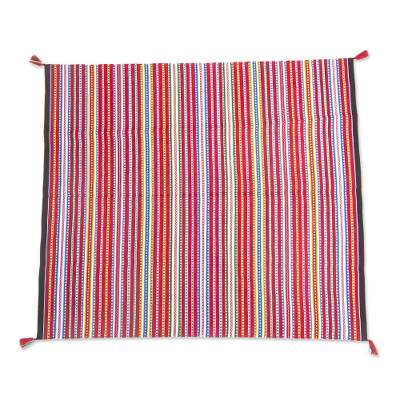 Crimson Alpaca Blend Throw Blanket with Multicolor Stripes