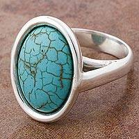 Sterling silver cocktail ring, 'Serene Lagoon' - 925 Sterling Silver Cocktail Ring with Turquoise Color Gem