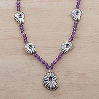 Amethyst beaded pendant necklace, 'Sea Royalty' - Sterling Silver and Amethyst Beaded Pendant Necklace
