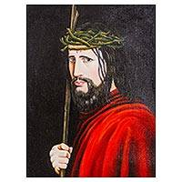 'Jesus the Good Shepherd' - Andean Oil Painting of Christ as the Good Shepherd