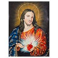 'The Heart of Jesus' - Oil on Canvas Painting of Jesus and the Sacred Heart