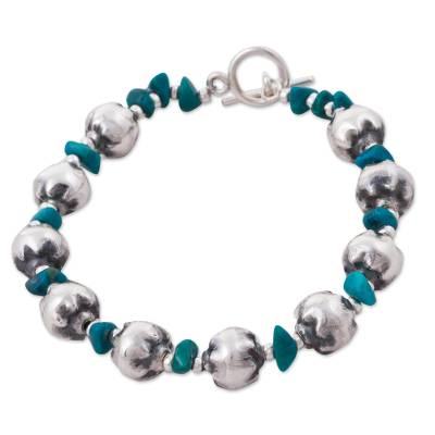 Chrysocolla beaded bracelet, 'Wild Chic' - Peruvian Chrysocolla and 925 Sterling Silver Bracelet