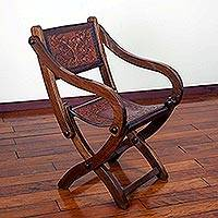 Wood and leather folding chair, 'Seat of Wonder'