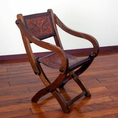 Wood And Leather Folding Chair, U0027Seat Of Wonderu0027   Handcrafted Wood And  Leather