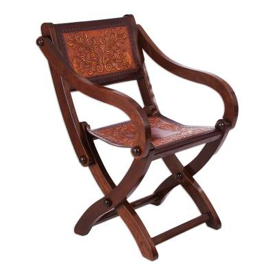 Wood and leather folding chair, 'Seat of Wonder' - Handcrafted Wood and Leather Folding Chair from Peru