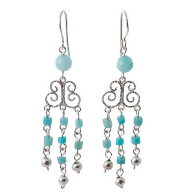 Amazonite chandelier earrings, 'Precious Jewel' - Amazonite and Sterling Silver Handmade Chandelier Earrings