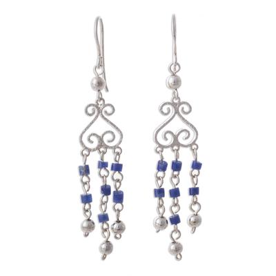 Sodalite chandelier earrings, 'Blue Curls' - Sodalite and Sterling Silver Chandelier Earrings from Peru