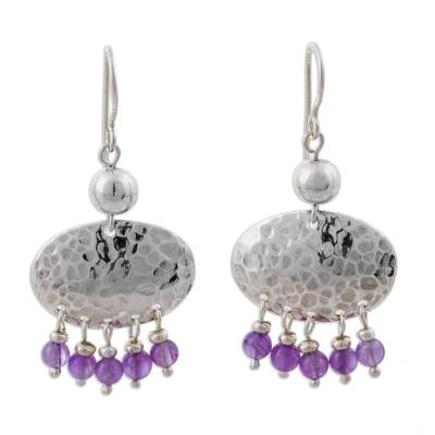 Amethyst chandelier earrings, 'Purple Empire' - Sterling Silver and Amethyst Chandelier Earrings from Peru