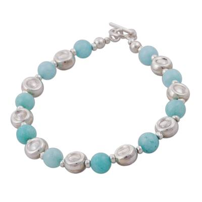 Artisan Crafted Amazonite and 925 Silver Beaded Bracelet