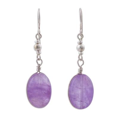 Amethyst dangle earrings, 'Forever Purple' - Amethyst and Sterling Silver Dangle Earrings from Peru
