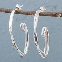 Sterling silver half-hoop earrings, 'Loving Together' - 925 Sterling Silver Half Hoop Earrings by Peruvian Artisans