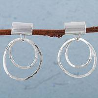 Sterling silver dangle earrings, 'Circle Legacy' - 925 Sterling Silver Circular Dangle Earrings from Peru
