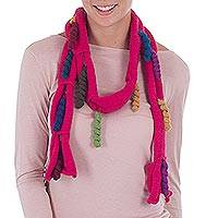 100% baby alpaca scarf, 'Spiral Magic in Cerise' - Spiral Accent Baby Alpaca Wrap Scarf in Cerise from Peru
