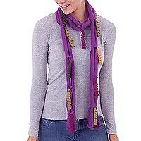 100% baby alpaca scarf, 'Spiral Magic in Amethyst' - Spiral 100% Baby Alpaca Wrap Scarf in Amethyst from Peru