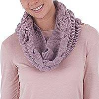 100% baby alpaca neck warmer, 'Lilac Patterns' - Peruvian Patterned Baby Alpaca Neck Warmer in Dusty Lilac