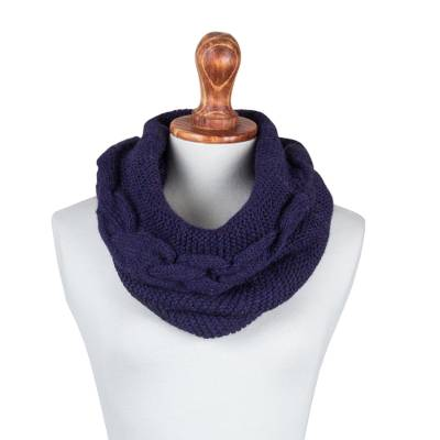 100% baby alpaca neck warmer, 'Deep Blue-Violet' - Peruvian Patterned Baby Alpaca Neck Warmer in Blue-Violet