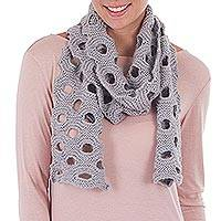 100% baby alpaca scarf, 'Dove Grey Circles' - Patterned 100% Baby Alpaca Scarf in Dove Grey from Peru