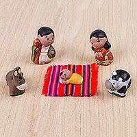 Ceramic figurines, 'Cute Nativity' (set of 5) - Five Hand Crafted Ceramic Nativity Figurines from Peru