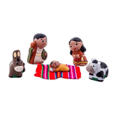 Five Hand Crafted Ceramic Nativity Figurines from Peru