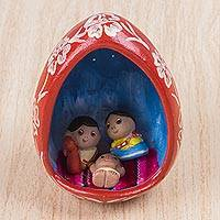 Ceramic sculpture, 'Highland Nativity' - Handcrafted Ceramic Egg Nativity Scene Sculpture from Peru