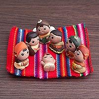 Ceramic nativity scene, 'Mini Christmas in Peru' (7 pieces) - Christmas Mini Nativity Scene Sculptures (7 Pieces)