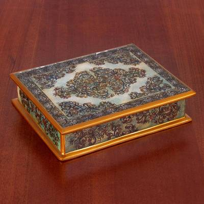 Reverse painted glass decorative box, 'Green Colonial Vine' - Reverse Painted Glass Floral Decorative Box in Green