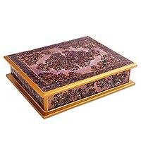 Revers painted glass decorative box,