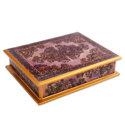 Revers painted glass decorative box, 'Colonial Vine in Purple' - Reverse Painted Glass Floral Decorative Box in Purple