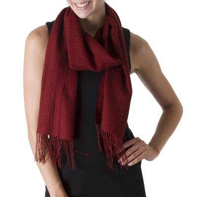 Baby alpaca and pima cotton blend scarf, 'Apple Rose' - Rich Red Patterned Scarf Knit in Alpaca and Pima Cotton