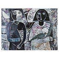 'Moonlight' - Signed Black and White Cubist Painting from Peru