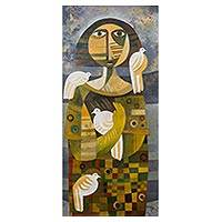 'Messenger of Peace' - Signed Peruvian Cubist Painting of a Woman with Doves