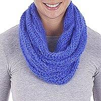100% alpaca neck warmer, 'Iris Texture' - Hand Crocheted 100% Alpaca Iris Neck Warmer from Peru