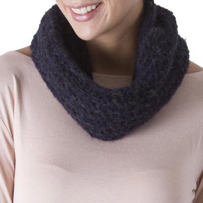 100% alpaca neck warmer, 'Intense Midnight' - Hand Crocheted 100% Alpaca Peruvian Neck Warmer in Midnight