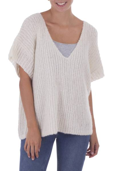 100% alpaca tunic, 'Hot in Ivory' - Ivory Color 100% Alpaca Knitted V-neck Tunic from Peru