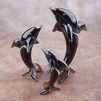 Blown glass silver leaf figurines, 'Amber Dolphin Trio' (set of 3) - 3 Hand Blown Glass Petite Amber Dolphin Figurines