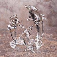 Blown glass silver leaf figurines, 'Ethereal Dolphin Trio' (set of 3) - Clear Blown Glass Petite Dolphin Figurines (Set of 3)