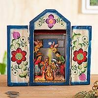 Wood retablo, 'Nativity in the Highlands' - Handcrafted Christmas Manger Scene Retablo Diorama