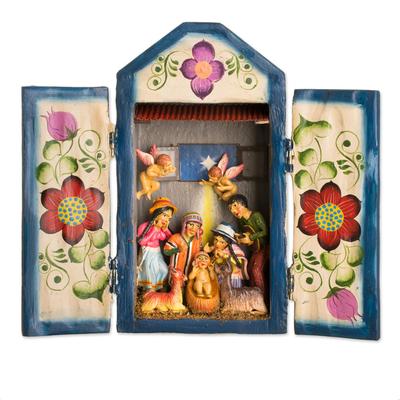 Wood retablo, 'Nativity in the Highlands' - Handcrafted Christmas Manger Scene Retablo Diorama