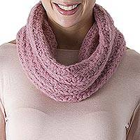 100% alpaca neck warmer, 'Exotic Rose'