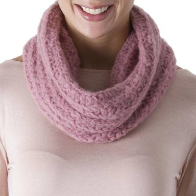 100% alpaca neck warmer, 'Exotic Rose' - Crocheted 100% Alpaca Neck Warmer in Dusty Rose from Peru