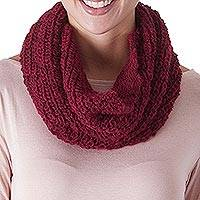 100% alpaca neck warmer, 'Mysterious Burgundy' - Hand Crocheted 100% Alpaca Neck Warmer in Burgundy from Peru