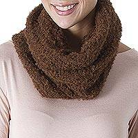 100% alpaca neck warmer, 'Soft Chestnut' - Hand Crocheted 100% Alpaca Neck Warmer in Chestnut from Peru