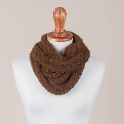 100% alpaca neck warmer, Soft Chestnut